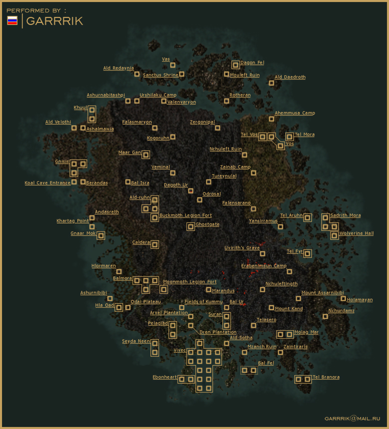 Tamriel chronicles elder scrolls cartography morrowind in game map from goty including solstheim created with createmaps command and annotated by wolfie another versions are available from gumiabroncs